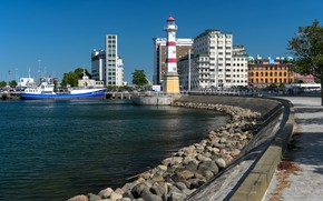 Picture lighthouse, pier, Sweden, City of Malmo