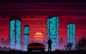 Picture Sunset, Auto, Machine, Style, Silhouette, Building, Landscape, Style, Neon, Illustration, Concept Art, 80's, Synth, Environments, …