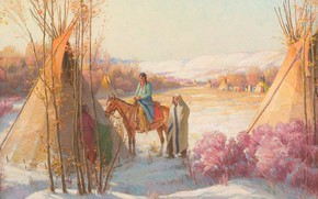 Picture Montana, Joseph Henry Sharp, Crow Reservation, Winter Squaw Dance