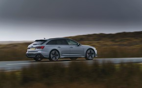 Picture overcast, Audi, speed, side view, universal, RS 6, 2020, 2019, V8 Twin-Turbo, RS6 Avant, UK-version