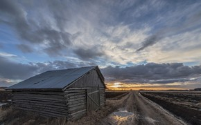 Picture road, clouds, sunset, the barn