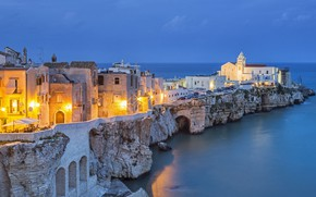 Picture sea, home, the evening, Italy, Vieste, Gargano