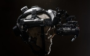Picture death, background, skull, headphones, helmet, camouflage