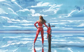Picture the sky, water, girl, clouds, pose, reflection, back, art, costume, motorcycle
