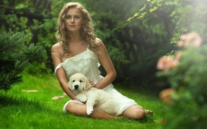 Picture girl, nature, sweetheart, puppy, cute