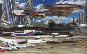 Picture fantasy, aircraft, science fiction, spaceship, airplane, sci-fi, artist, digital art, artwork, fantasy art, vehicle, futuristic, …
