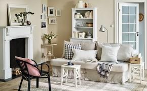 Wallpaper interior, fireplace, living room