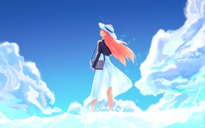 Picture summer, girl, clouds, hat