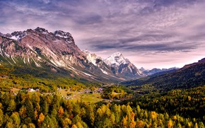 Picture autumn, forest, the sky, trees, mountains, home
