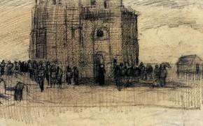 Picture Vincent van Gogh, pencil drawing, Sale of Building Scrap