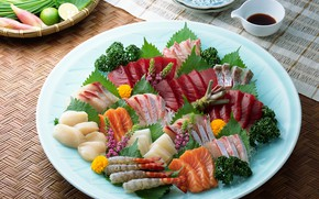 Picture flowers, table, fish, plate, Cup, vegetables, tablecloth, saucers, seafood