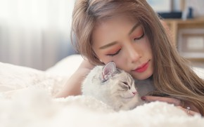 Picture cats, comfort, girls