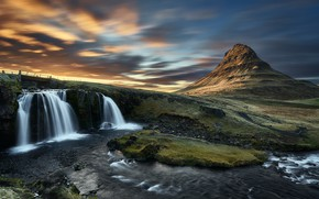 Picture the sky, clouds, mountains, shore, waterfall, Iceland, pond