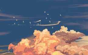 Picture the sky, clouds, birds, ship, fantasy