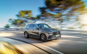 Picture machine, trees, movement, Mercedes-Benz, speed, turn, crossover, Mercedes-AMG, GLE 53, 4Matic+