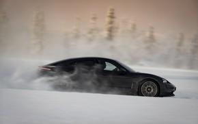 Picture snow, black, Porsche, side view, 2020, Taycan, Taycan 4S