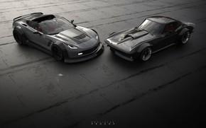 Wallpaper Auto, Corvette, Chevrolet, Retro, Machine, Two, Rendering, Concept Art, C7 Corvette, Chevrolet Corvette C7, Rostislav ...