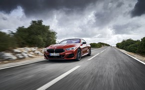 Picture movement, coupe, BMW, Coupe, shrub, 2018, 8-Series, dark orange, M850i xDrive, Eight, G15