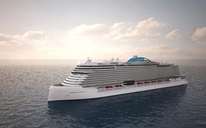 Picture The ocean, The ship, Rendering, Norwegian, Passenger ship, Passenger liner, Vessel, Passenger Ship, Norwegian Cruise ...