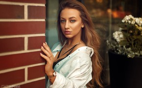 Picture look, pose, model, portrait, makeup, hairstyle, shirt, brown hair, in white, bokeh, Wojtek Polaczkiewicz, Ola …
