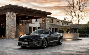 Wallpaper Ford, fountain, 2018, dark gray, convertible, house, Mustang GT 5.0 Convertible