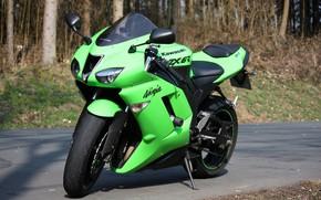 Picture asphalt, green, motorcycle, bike, motorcycle, superbike, sportbike, Kawasaki Ninja ZX-6R