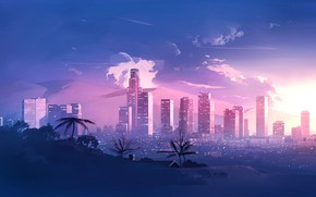 Picture The city, New Retro Wave, Synthwave, Style, Neon, Landscape, Illustration, 80s, Music, 80's, Style, Retrowave, …