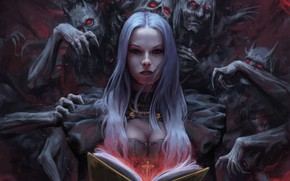 Picture chest, cross, book, witch, soul, red eyes, demons, white hair, book, witch, white hair, red …