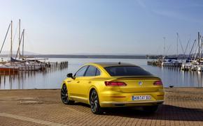 Picture water, yellow, shore, Volkswagen, 2018, R-Line, liftback, 2017, Arteon
