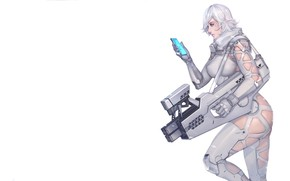 Picture Girl, Latex, Sexy, Art, White, Machine, Weapons, Weapon, Minimalism, Characters, Ren Wei Pan, Arctic wolf …
