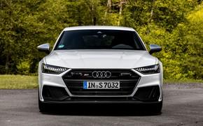 Picture white, Audi, front view, Audi A7, 2019, S7 Sportback