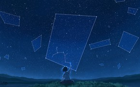 Picture night, girl, constellation