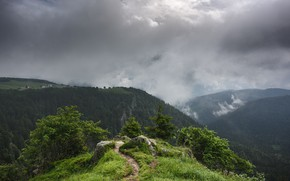 Picture clouds, mountains, vegetation, path, Summer's fog