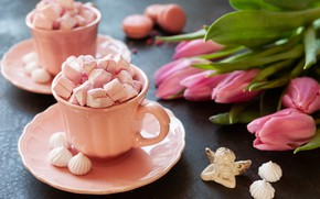 Picture bouquet, Cup, tulips, marshmallows, Marshmallow