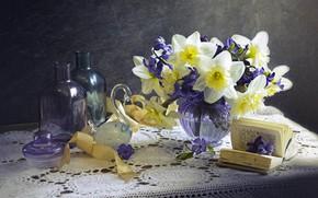 Picture flowers, tape, book, Swan, still life, napkin, daffodils, figure, vase, hyacinths, bottles, Лионелла Зимина