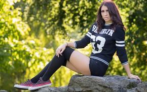 Picture look, girl, pose, feet, stone, sneakers, Johanna, Martin Ecker