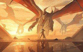Picture sunset, dragon, bow, hunter