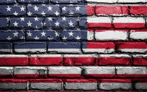 Picture red, wall, USA, white, blue, art, textures, flag, paint, brick, America, symbolism, street art, 4k …