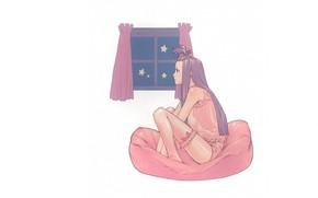 Picture underwear, pillow, window, purple hair, in profile, garter for stockings, by Yuusuke Kozaki, Speed Grapher, …