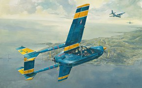 Picture art, airplane, Cessna, O2-A, Skymaster
