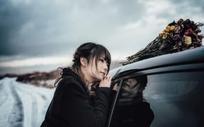 Picture auto, girl, bouquet