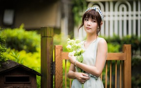 Picture girl, flowers, bouquet, Asian, cutie, bokeh