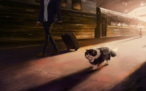 Picture cat, station, train, artist, Peron, Andrew Biological, cat's journey, pastures