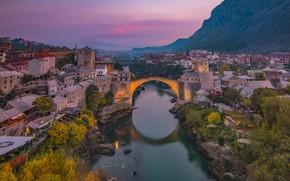 Picture night, bridge, river, home, Bosnia and Herzegovina, Mostar
