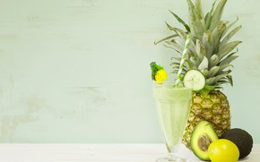 Picture lemon, glass, drink, pineapple, smoothies