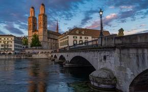 Picture photo, The evening, Bridge, The city, River, Switzerland, Zurich, Street lights, Limmat river