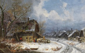 Picture 1845, oil on canvas, Henry Burkel, Winter Village, Winter village, Wintry village, Heinrich Bürkel, the …