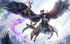 Picture angel, armor, warrior, bow, arrow, guy, Archer