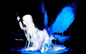 Picture girl, wings, katana