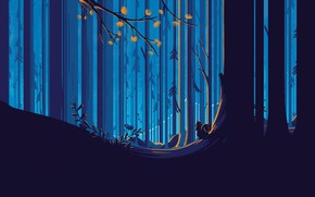 Picture forest, trees, protein, vector graphics